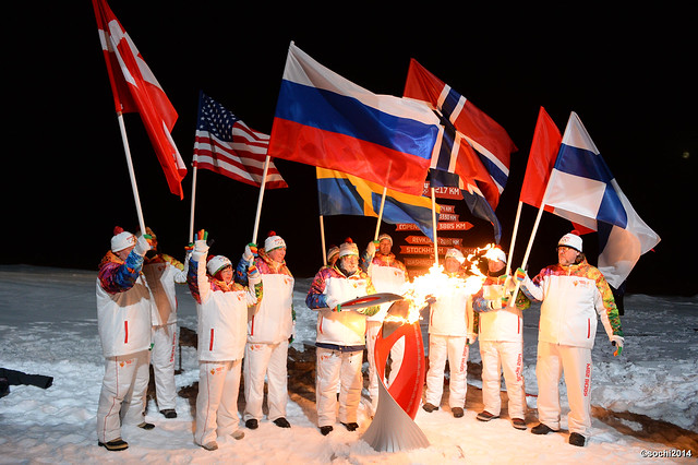 SOCHI 2014 OLYMPIC FLAME AT THE NORTH POLE