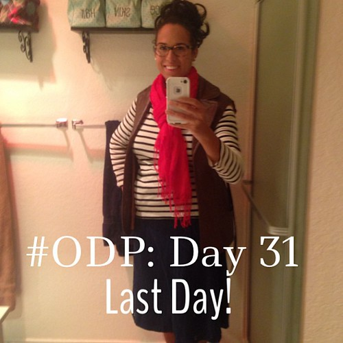 #ODP: Day 31 #lastday red scarf, dress as wrap skirt, leather vest, stripes #ABeautifulMess