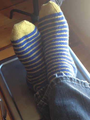 swedish stripes yellow toes by gradschoolknitter