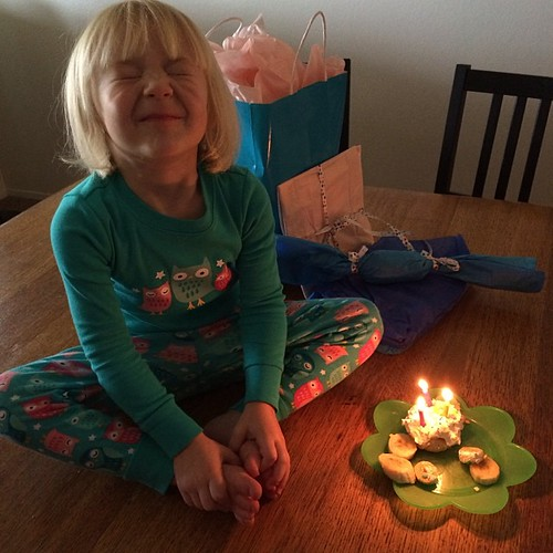 Somebody's THREE! (Annalie made her a fancy birthday breakfast.)