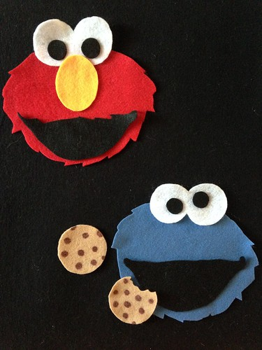 CraftyGoat's Notes: Felt Board Elmo and Cookie Monster