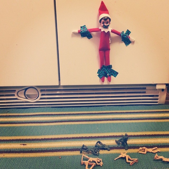 Poor #jinglebellsqualls. The army men weren't sure of her last night creeping around our house so they captured her! #quallschristmas2013