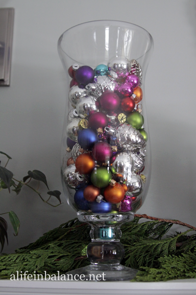 Christmas 2013 House Tour: Vase from Target filled with ornaments