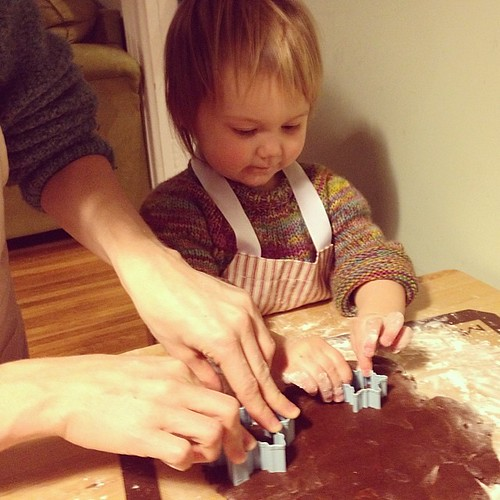 Making gingerbread snowflakes together.