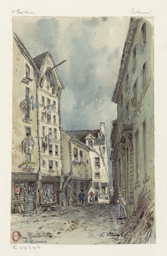 19th century Paris sketch: shabby street of 'rag and bone' collectors (hustlers)