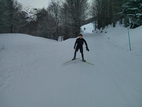 Divirtiéndonos haciendo técnica de esquí de fondo