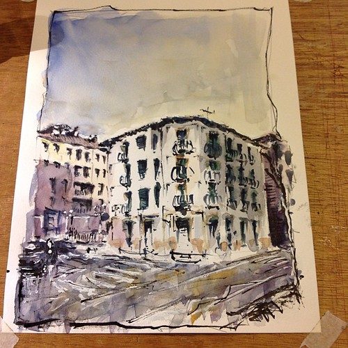 Working with watercolors by josu maroto