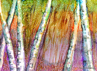ALCOHOL INK BIRCHES ON YUPO PAPER