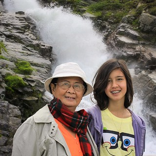 Grandma Bunrod and Samantha at the waterfall of Silvretta reservoir