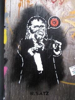R. Satz Chewbacca stencil, Shoreditch