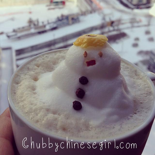 snowman 3D latte art - chubbychinesegirl