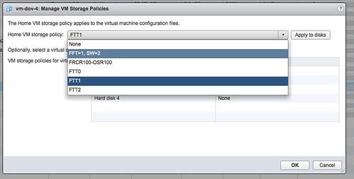 VSAN Basics - Changing a VM's storage policy