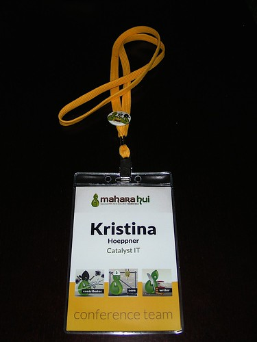 Mahara Hui name tag with contributor roles displayed
