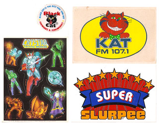 Vintage Stickers 70's 80's Super Slurpee Black Cat Kat Crystar