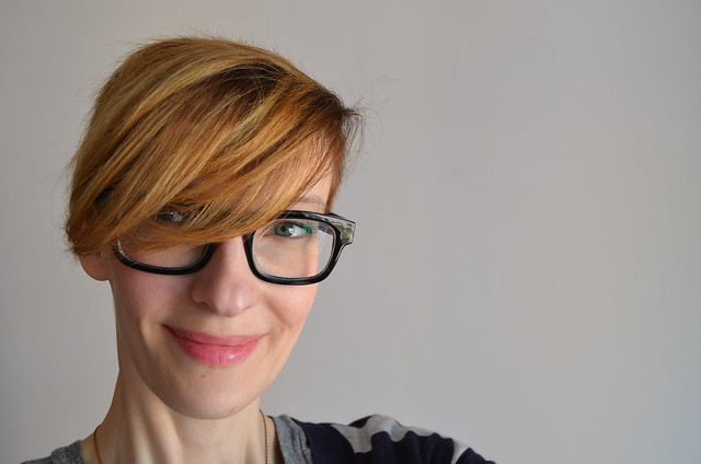 kate wirth_new blond spring hair color_warby parker huxley glasses_smile