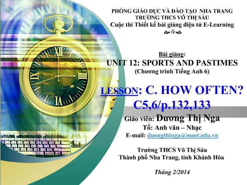 Elearning: Unit 12 Sports and Pastimes (Chương trình Tiếng Anh 6)