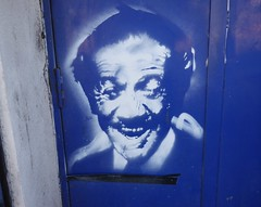 Sid James as portrayed as street art, Stockport. ...