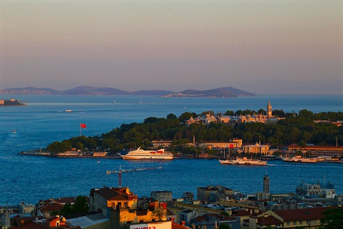 Sunset view of the royal palace from the rooftop bar at Mikla at The Marmara Pera
