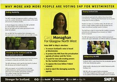 Leaflet for Carol Monaghan, SNP candidate for Glasgow North West.