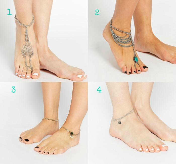 pulseras para el pie