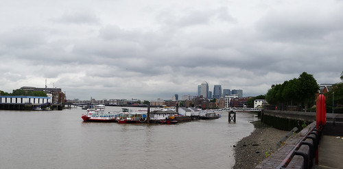 River Thames and distant Docklands