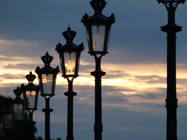 Street lamps at the Louvre