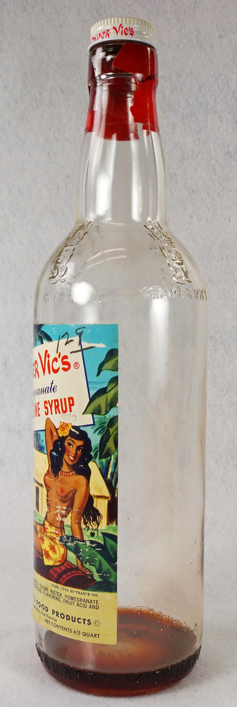 RD15320 Vintage Mid Century 1946 Bottle of Trader Vic's Pomegranate Grenadine Syrup with Topless Girl Tiki DSC09135