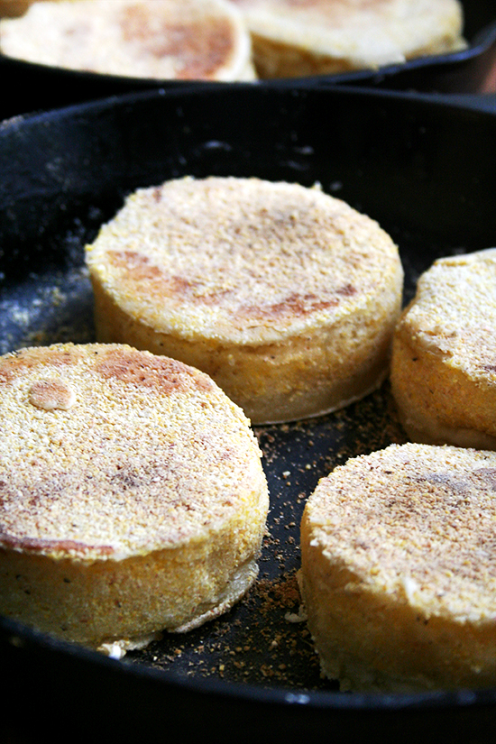 English muffins, in pans