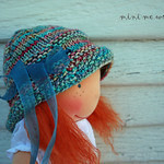 "WSK 'Isabella' Greta Hat & Booties for slim 16"" waldorf dolls"