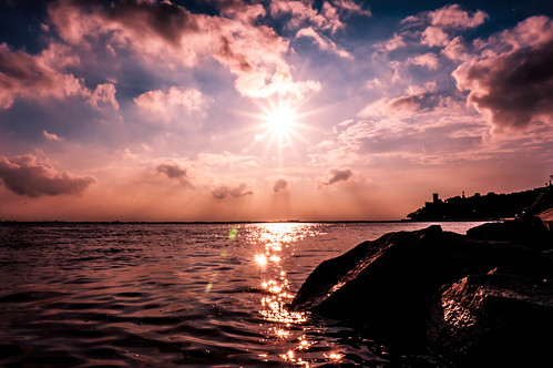sunset summer sky beach water weather rock skyline clouds landscape day waves cloudy sony horizon bank ripples rays silhuette spakles