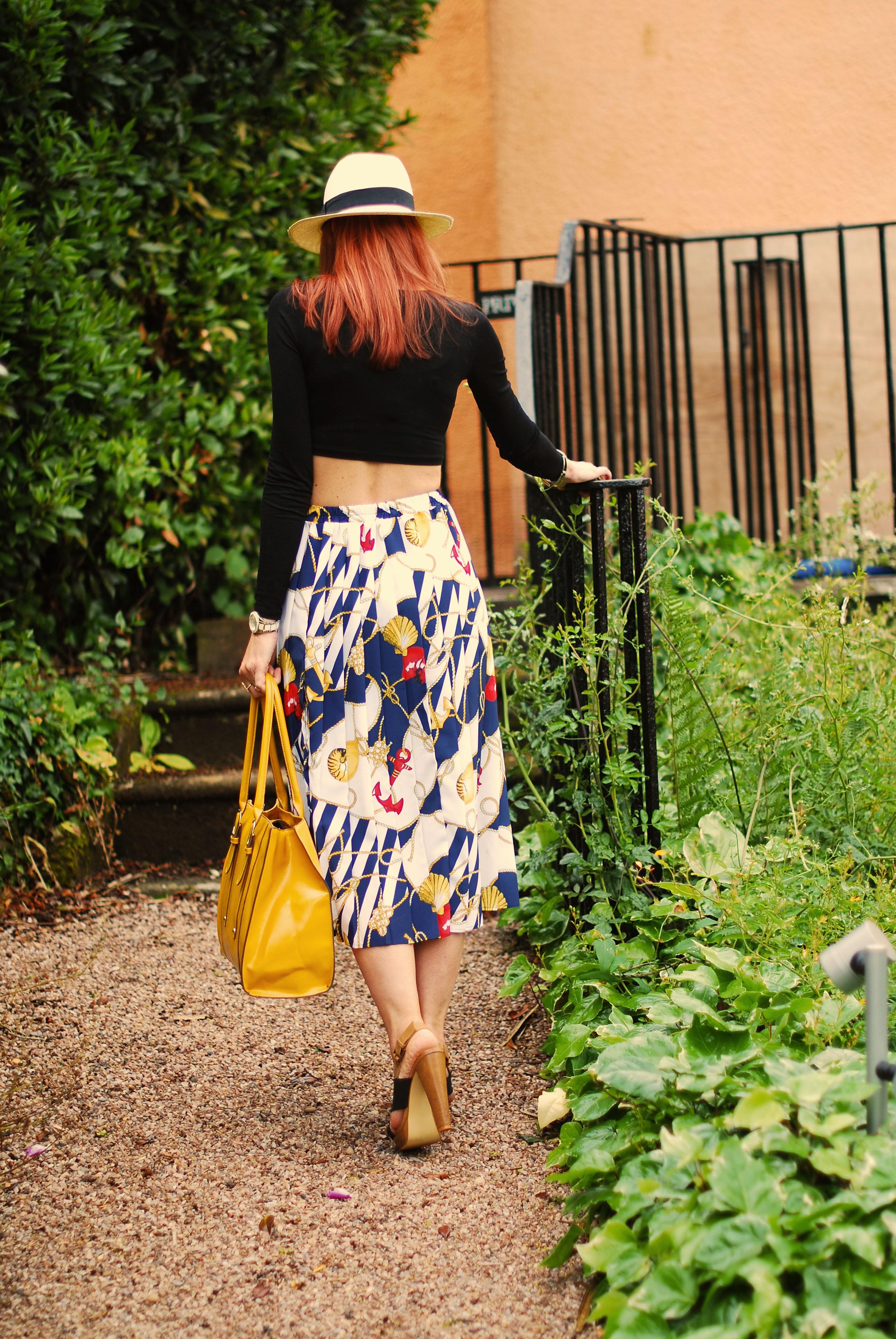 Crop top, vintage skirt & fedora