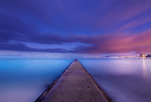 ocean longexposure nightphotography travel blue light sunset sea summer usa cloud seascape beach water night clouds sunrise dark landscape hawaii seaside twilight nikon pacific cloudy waikiki oahu jetty wave honolulu nightview bluehour lighttrail d90 nikond90