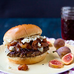 Burgers with Figs, Caramelized Onions, and Goat Cheese