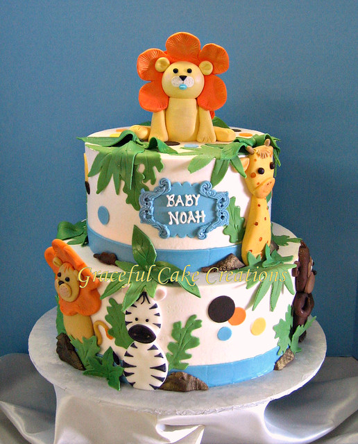 Jungle safari baby shower cake flickr photo sharing for Baby shower decoration safari