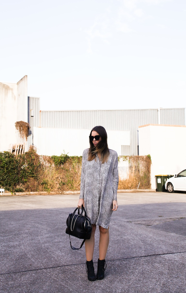 Modern Legacy fashion blog Australia Willow Snake Print Shirt Dress Alexander Wang Jamie Chain Tote Bag Black Acne Pistol boots Celine Audrey sunglasses sale (1 of 1)