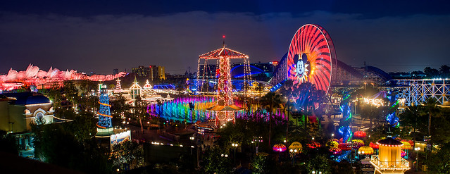 Paradise Pier Panorama During World of Color