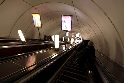 Escalators down to platform level at Nevsky Prospekt (Не́вский проспе́кт) station on Line 2