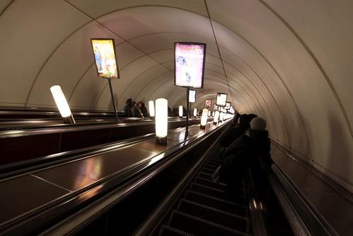 Escalators down to platform level at Nevsky Prospekt (Не́вский проспе́кт) station on Line 2