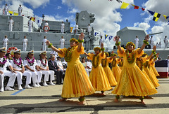 Keiki Hula dancers perform for visiting sailors of the Chinese People's Liberation Army-Navy following their arrival at Joint Base Pearl Harbor-Hickam Sept. 6 for a port visit. (U.S. Navy photo by Mass Communication Specialist 1st Class Daniel Barker)