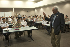 William J. Wesley, U.S. Pacific Fleet's executive director for plans and policy, speaks to students and faculty of Singapore's Goh Keng Swee Command and Staff College during a briefing on the Fleet's mission, Sept. 11. (U.S. Navy photo by Mass Communication Specialist Seaman Johans Chavarro)