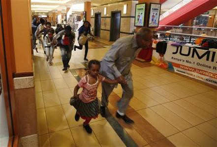 Shoppers running from gunfire at the Westgate Shopping Mall in Kenya. An Islamist group is reported to have claimed responsibility in the shooting. by Pan-African News Wire File Photos