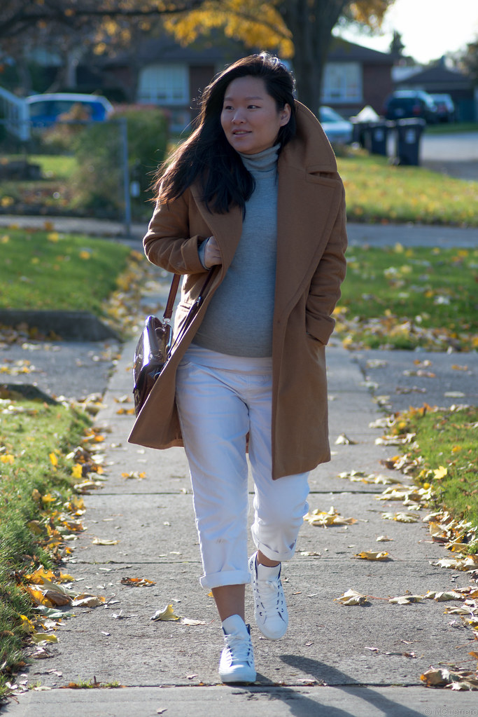 zara camel coat, camel coat with large lapel, burgundy quilted purse, converse rose sneakers, rwco grey turtleneck, target pants
