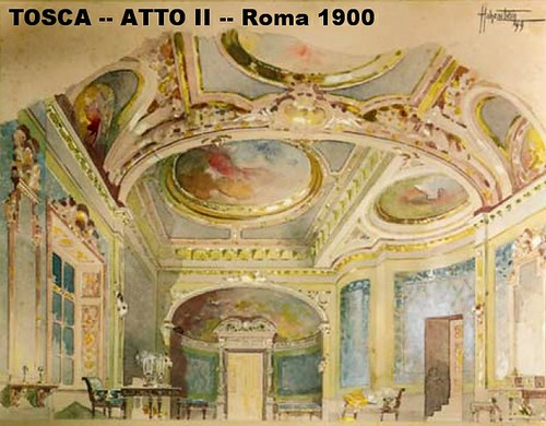 Set design for Act 2 of Puccini's opera Tosca (Palazzo Farnese) by speranzajl