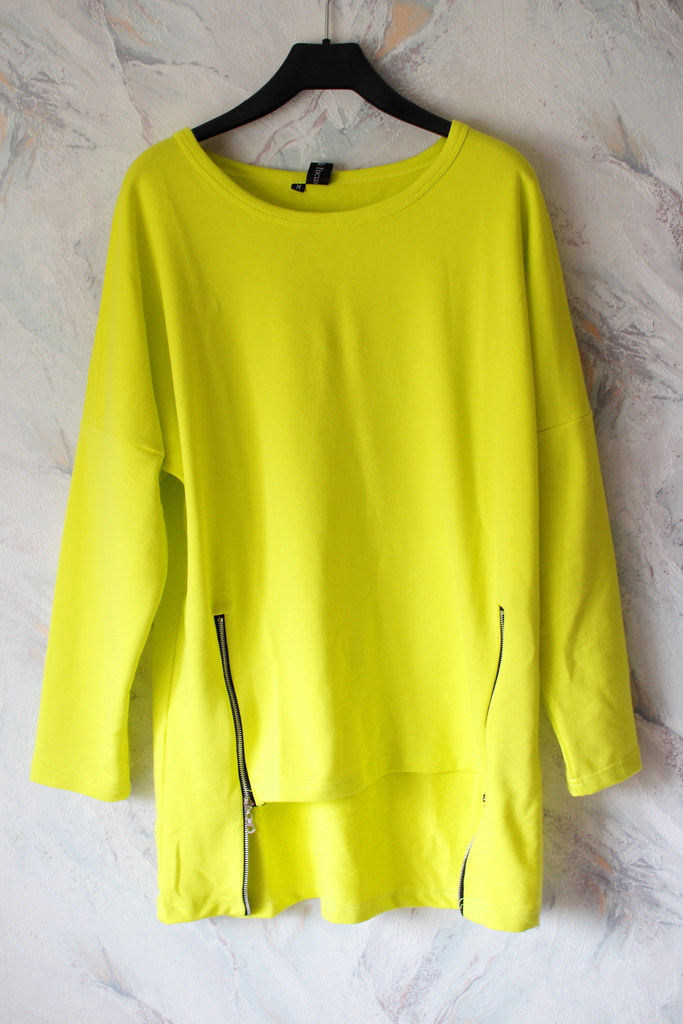 neon color sweater with side zippers from Persunmall