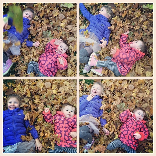 Who doesn't have fun in a pile of leaves?!
