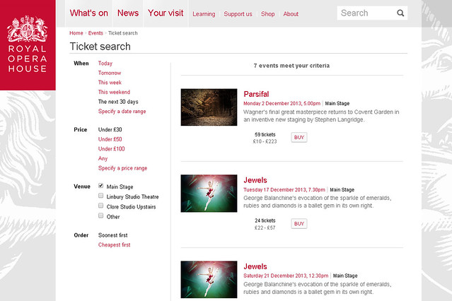 The Royal Opera House's new Ticket Search feature
