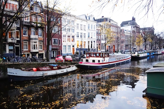 Amsterdam winter canal Prinsengracht