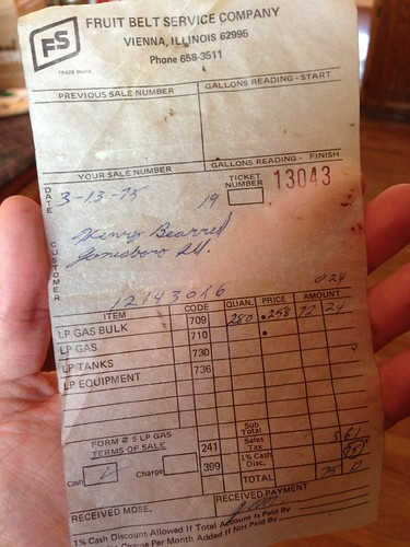 Receipt from 1975 Found in New House