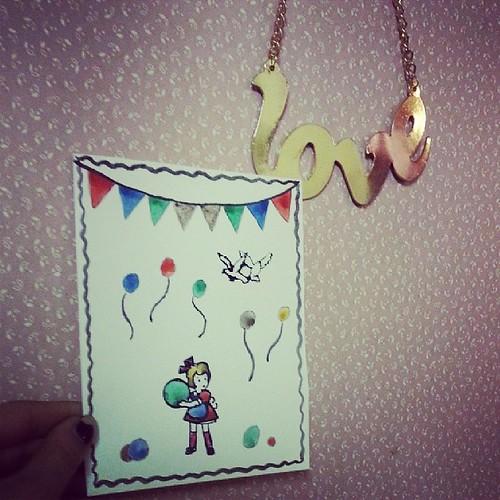 ♣ la carte pour l'anniversaire de ma copine est terminée ♣ #vintage #creation #peinture #paint #ourlittlefamily #france
