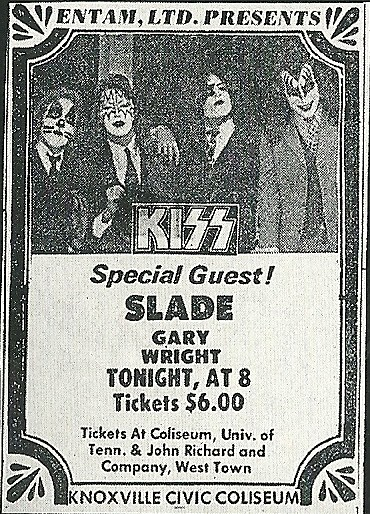 09/11/75 Kiss/ Slade/ Gary Wright @ Knoxville, TN